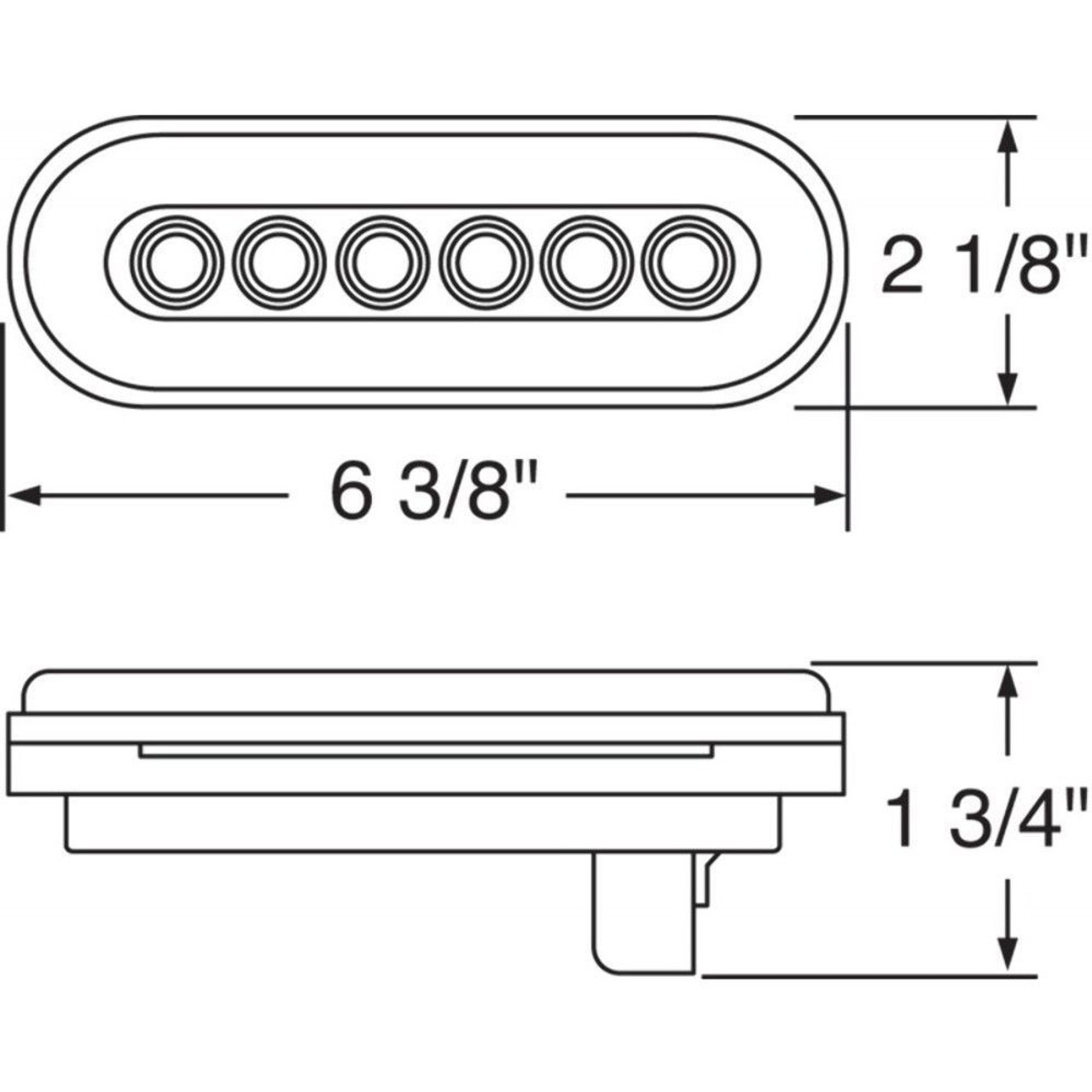 """(2) 22 Amber Led 6"""" Oval """"Glo"""" P/T/C Light - Clear Lens - Universal Trailer Truc"""