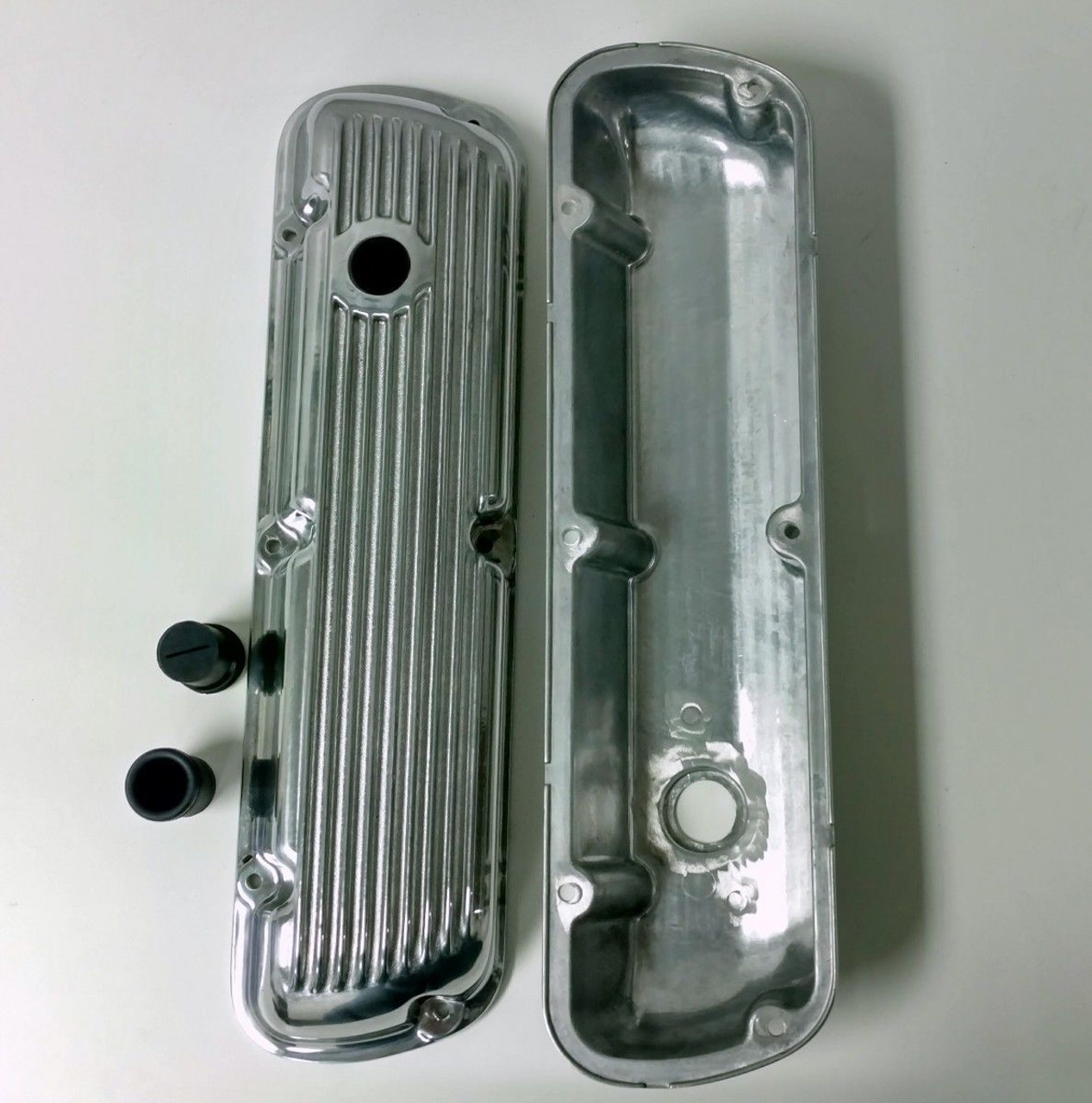 1964-Up SB Ford V8 289 302 351W Polished Aluminum Short Finned Valve Covers