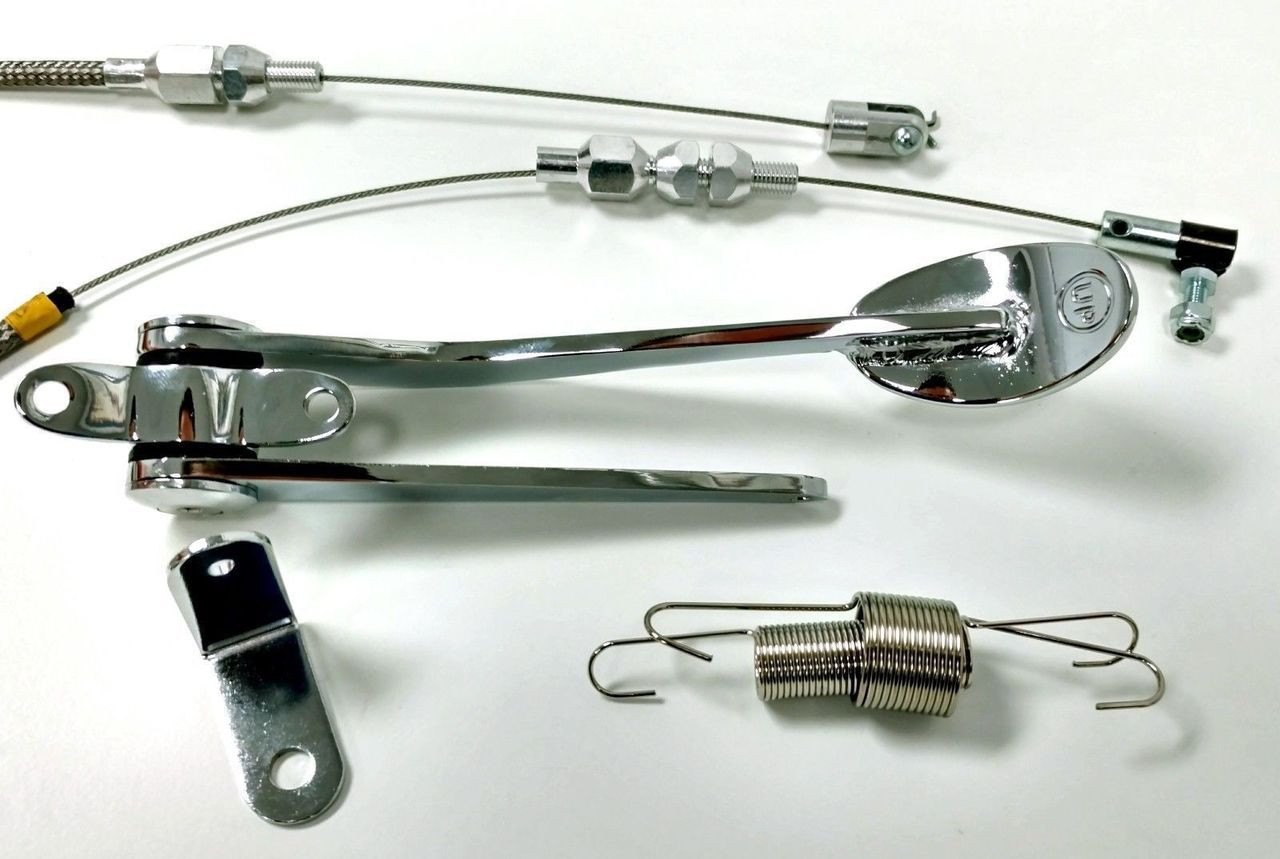 """Hot Rod Chrome Spoon Throttle Pedal Kit W/ 24"""" SS Braided Cable, Return Spring"""
