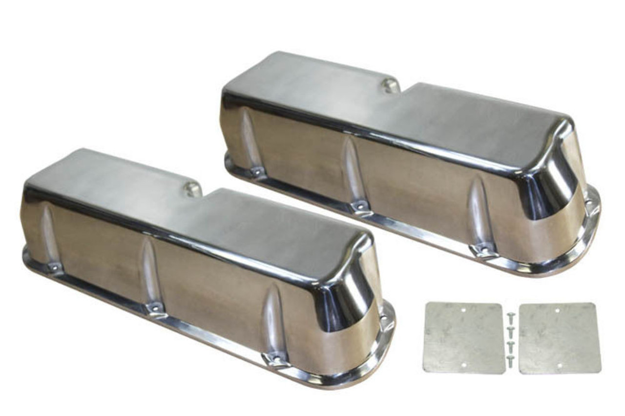 1962-85 SB Ford 289-351W 5.0L Polished Aluminum Smooth Valve Covers Set