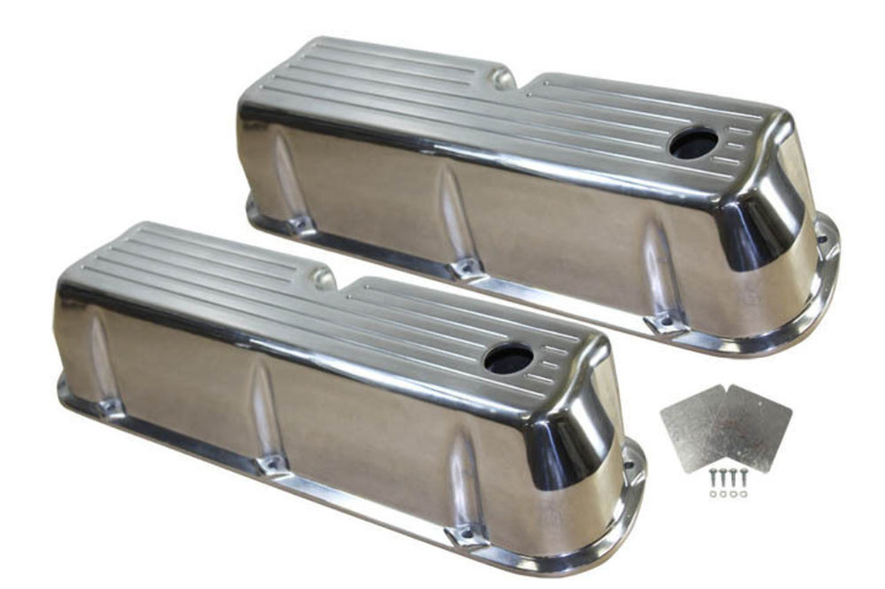 1962-85 SB Ford 289-351W 5.0L Polished Aluminum Ball Milled Tall Valve Covers Set