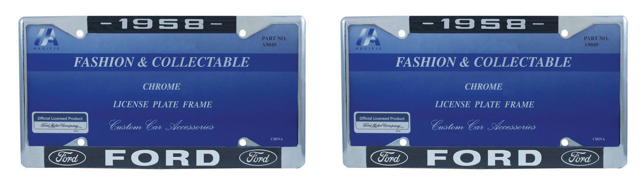 1958 Ford License Plate Frame Chrome Finish with Blue and White Script, Set of 2