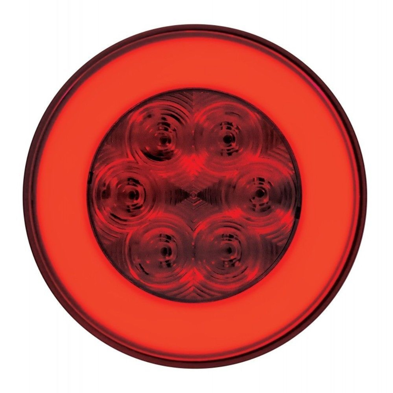 """(2) 21 Red Led 4"""" Round """"Glo"""" S/T/T Light - Red Lens - Universal Trailer RV Hot"""