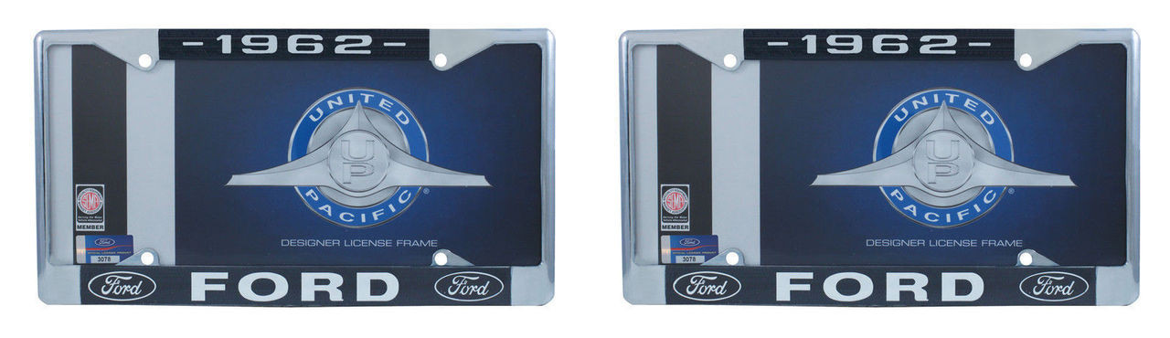 1962 Ford License Plate Frame Chrome Finish with Blue and White Script, Set of 2