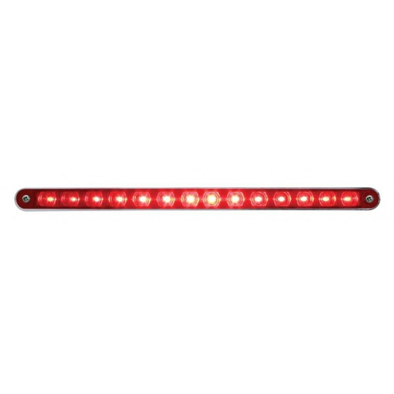 """14 LED 12"""" Sequential Auxiliary/Utility Light Bar Red LED w/ Red Lens And Bezel"""