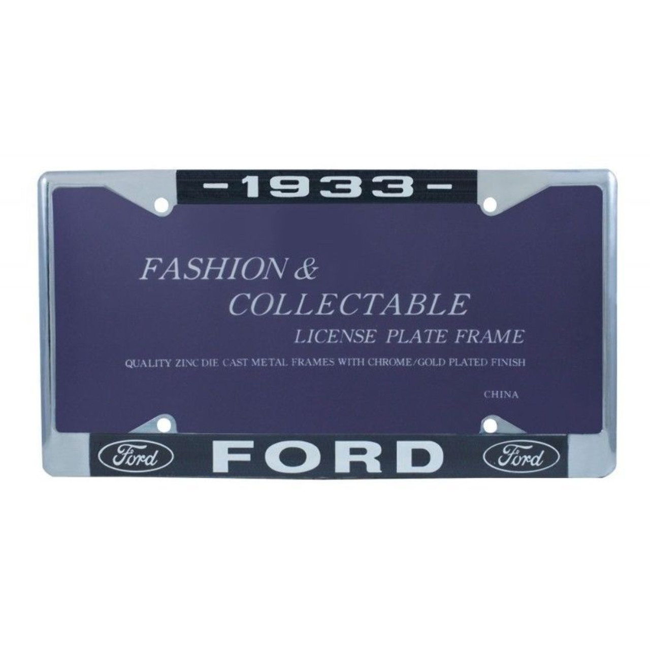 1933 Ford License Plate Frame Chrome Finish with Blue and White Script, Set of 2