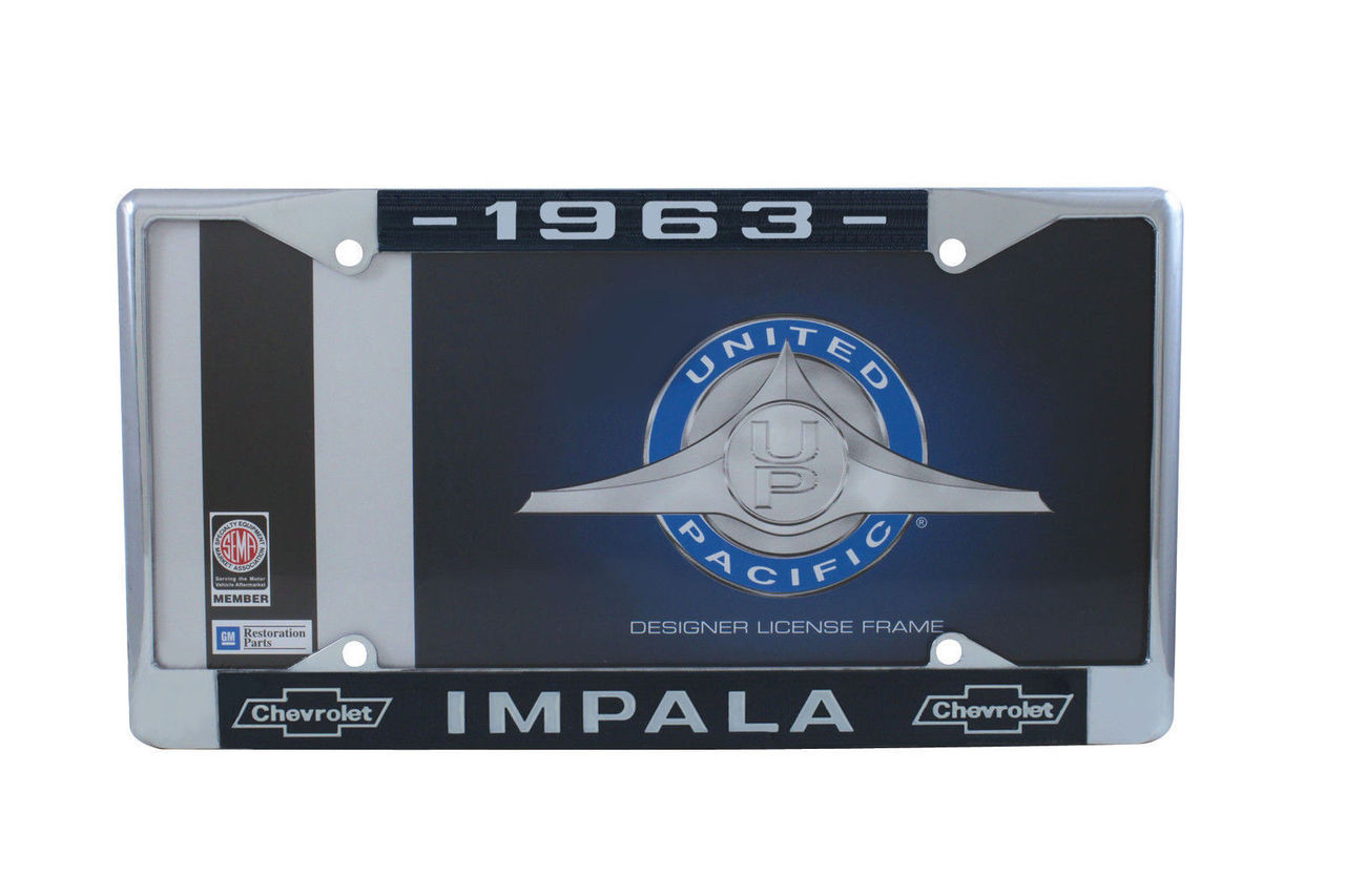 1963 Chevy Impala Chrome License Plate Frame W/ Blue and White Script, Set of 2
