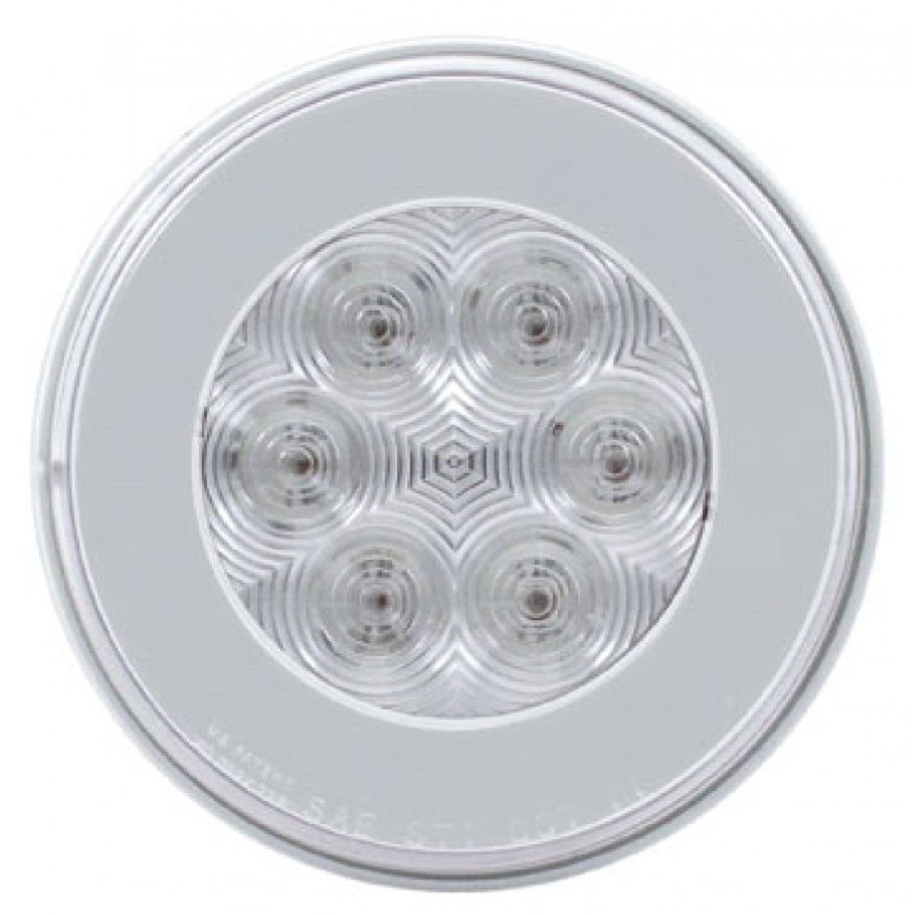 """(2) 21 Amber Led 4"""" Round """"Glo"""" P/T/C Light - Clear Lens - Universal Trailer Tru"""
