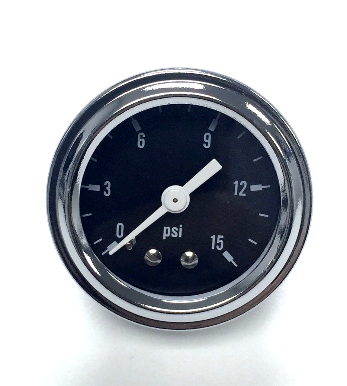 "0-15 PSI Fuel Pressure Gauge, 1.5"" Black Face, Chrome Trim"