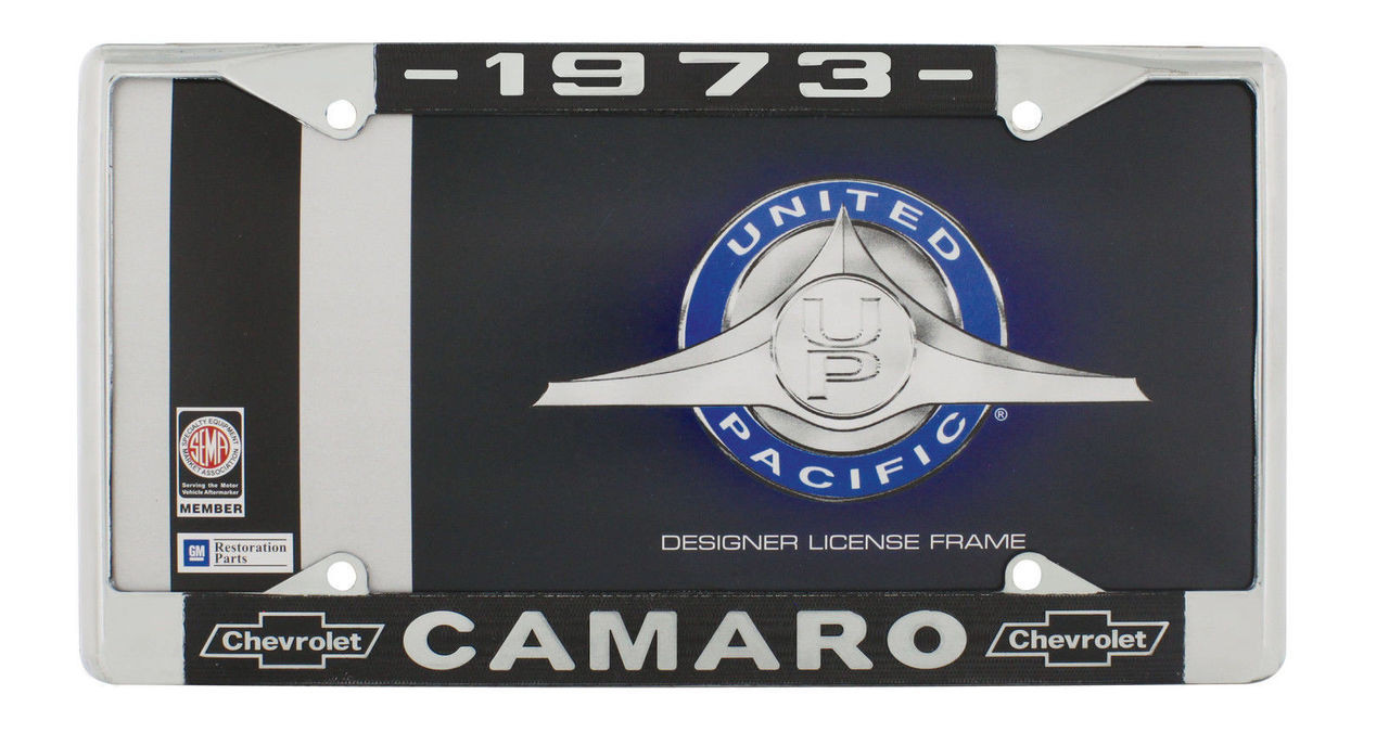 "1973 Chevy ""Camaro"" Chrome License Plate Frame with Year and Bowtie, Set of 2"