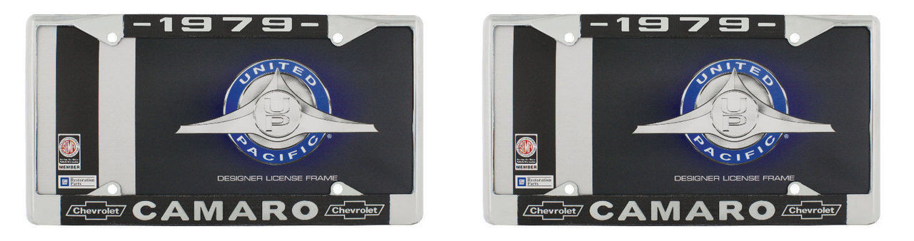 """1979 Chevy """"Camaro"""" Chrome License Plate Frame with Year and Bowtie, Set of 2"""