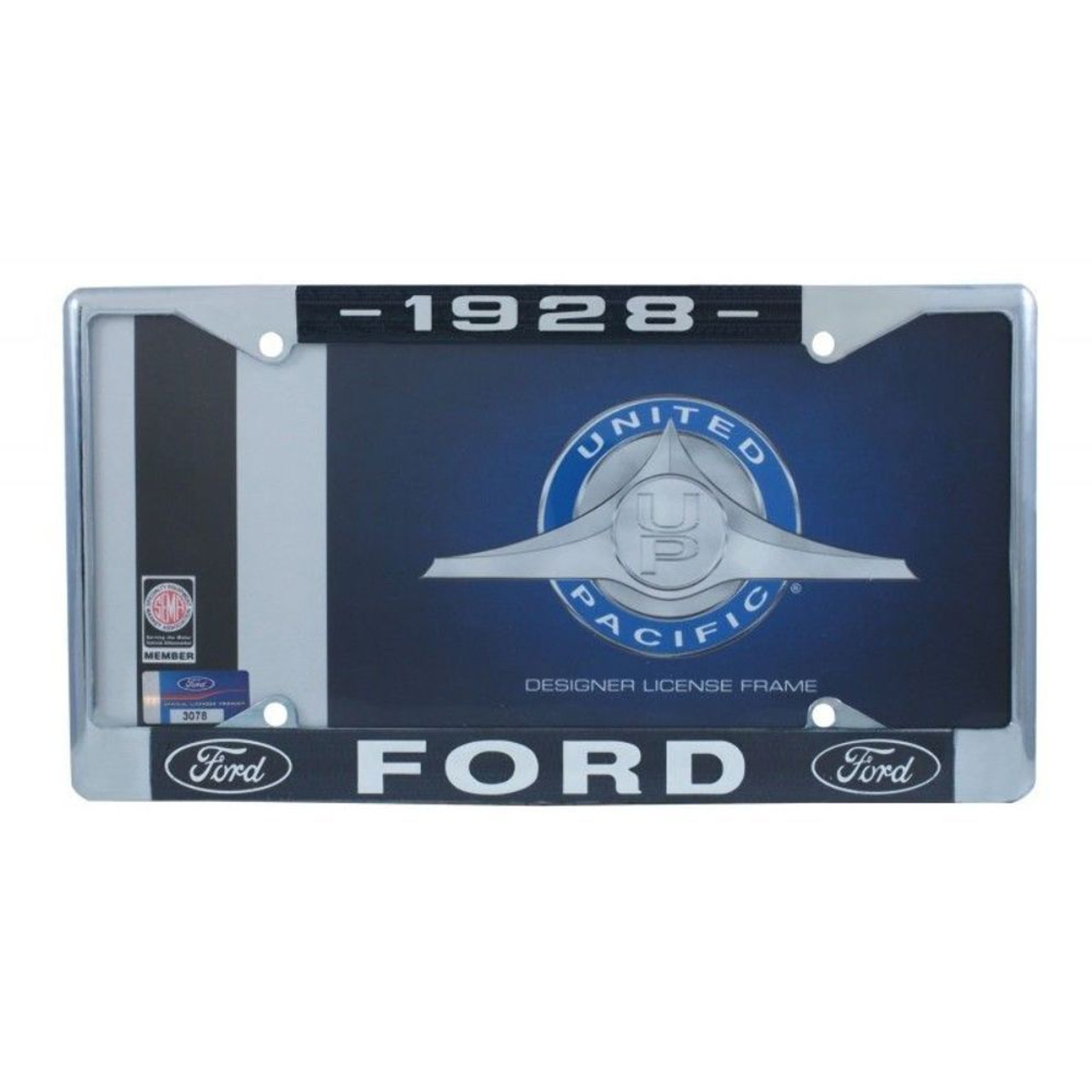 1928 Ford License Plate Frame Chrome Finish with Blue and White Script, Set of 2