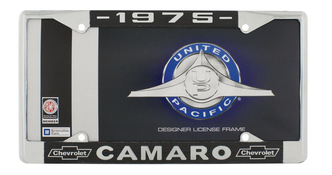 """1975 Chevy """"Camaro"""" Chrome License Plate Frame with Year and Chevrolet Bowtie"""