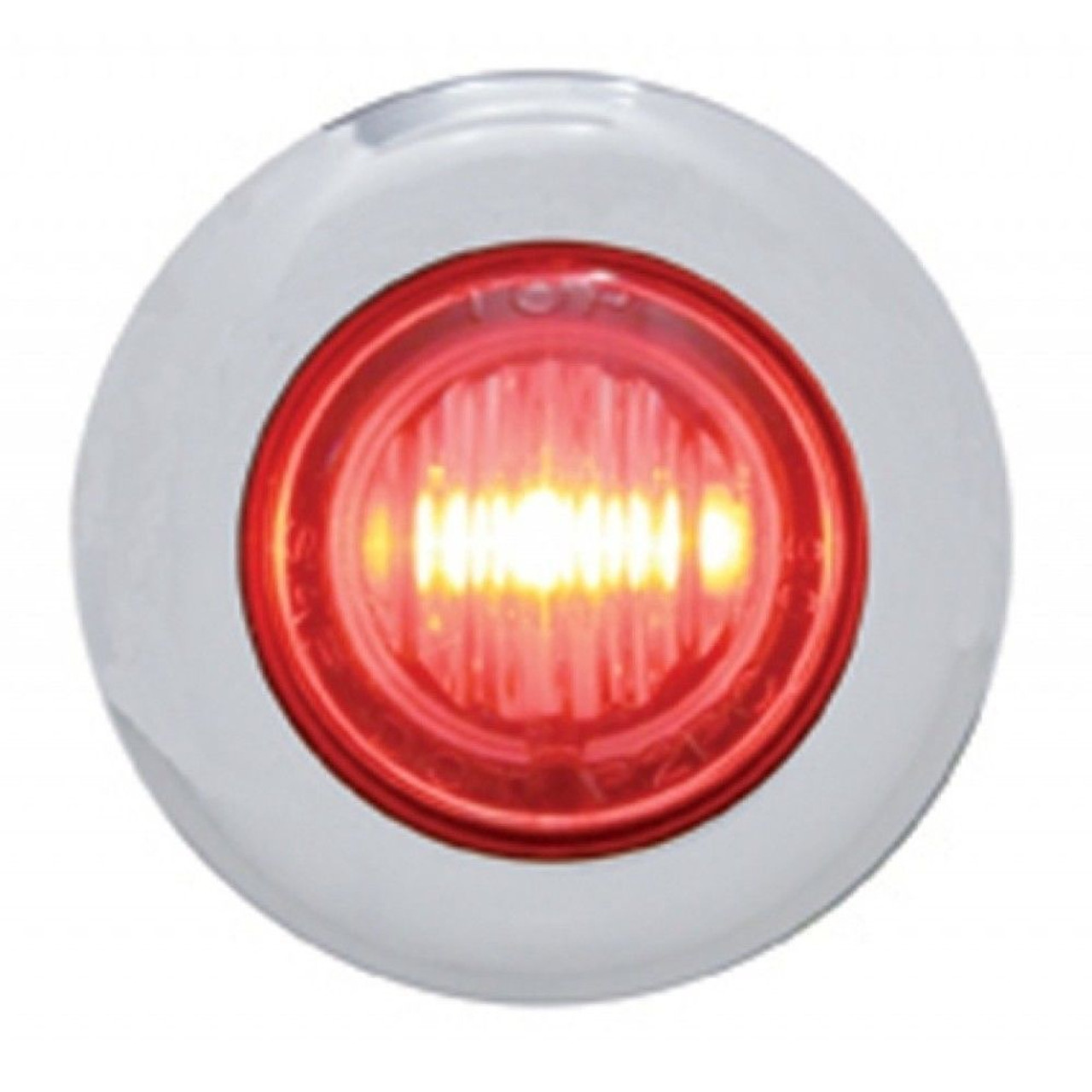 (2) 3 LED Mini Dual Function Clearance Marker w/ Bezel - Red LED/Red Lens