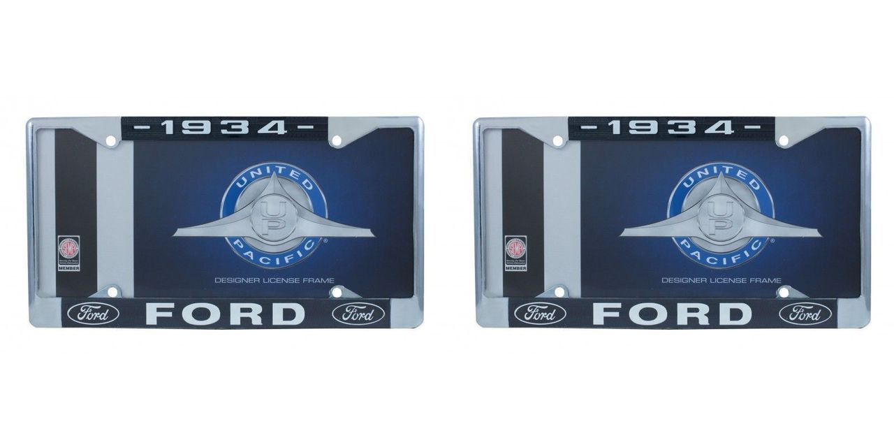 1934 Ford License Plate Frame Chrome Finish with Blue and White Script, Set of 2