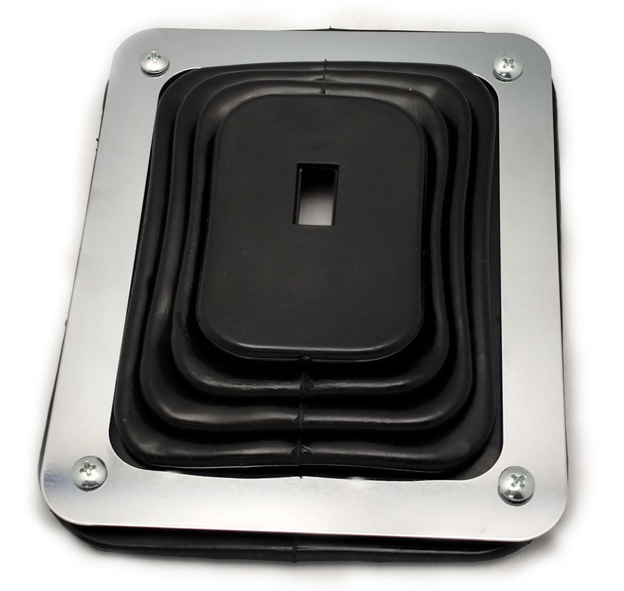 "Hot Rod Rubber Shifter Boot With Chrome Plate 5 5/8"" X 6 3/4"" Universal"