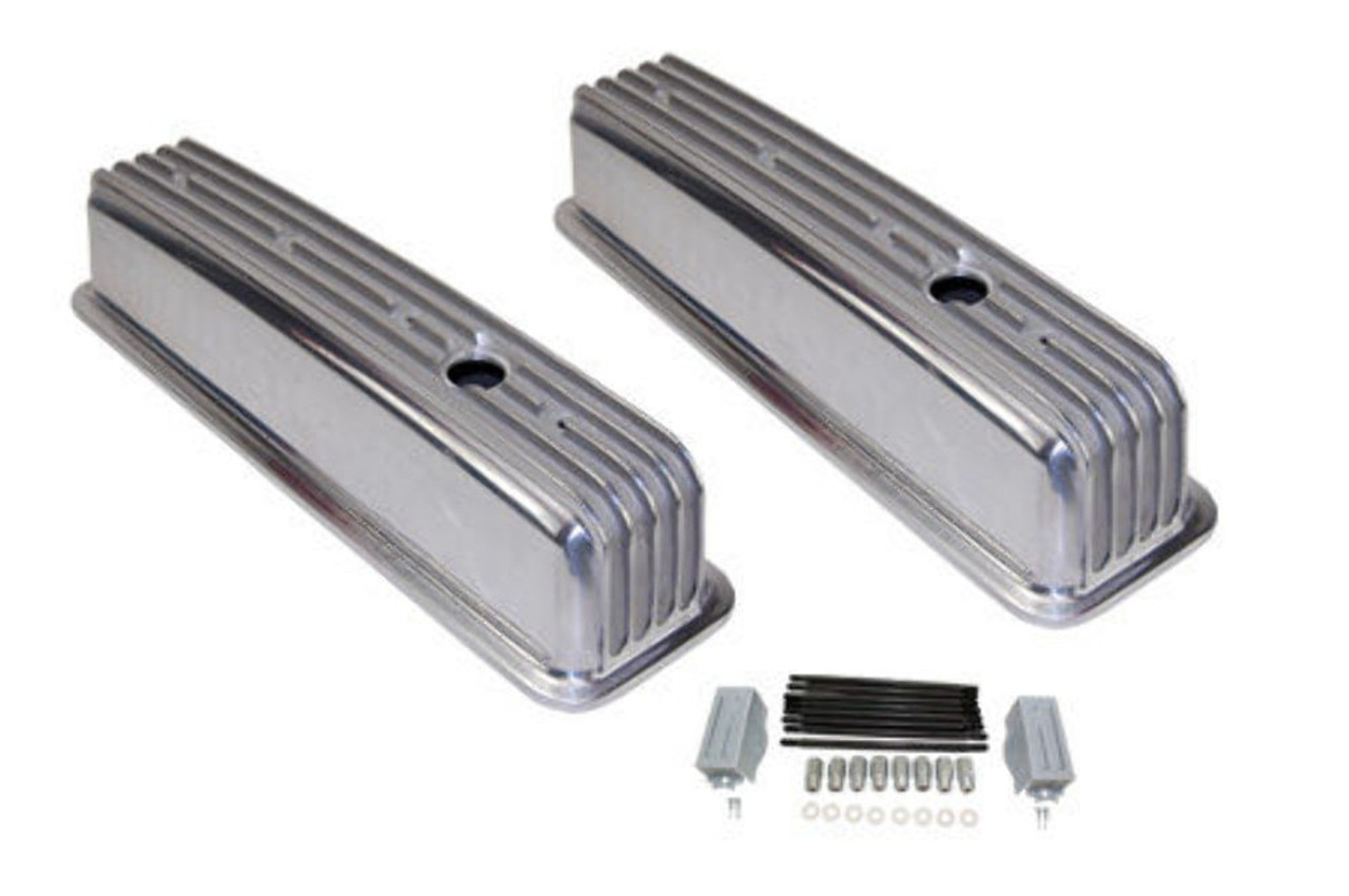 1987-99 SBC Chevy Polished Aluminum Finned Valve Covers with Hole Short 305-350