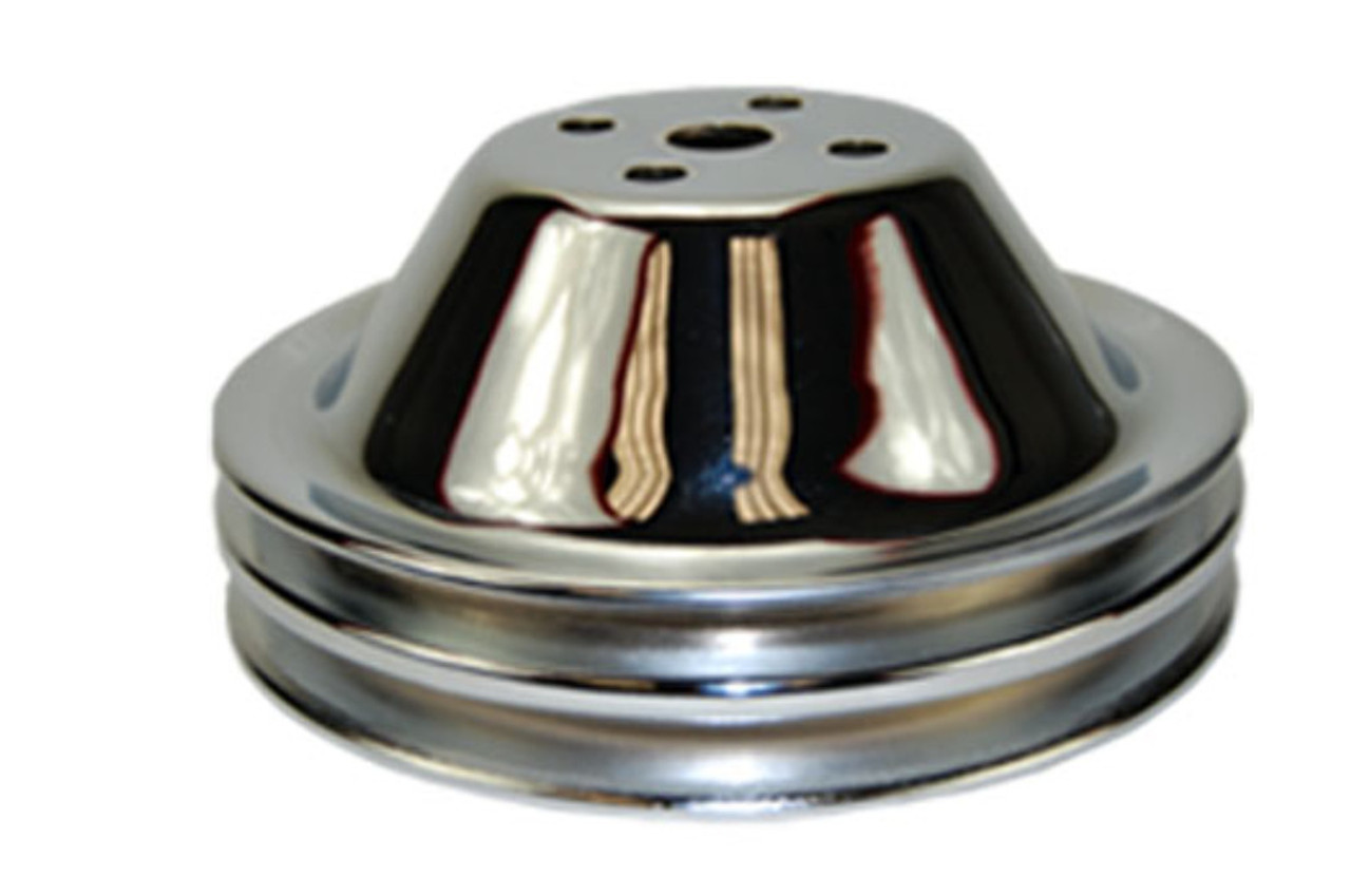 2 Groove Chrome Steel Pulley Kit, SBC V8 Short Water Pump