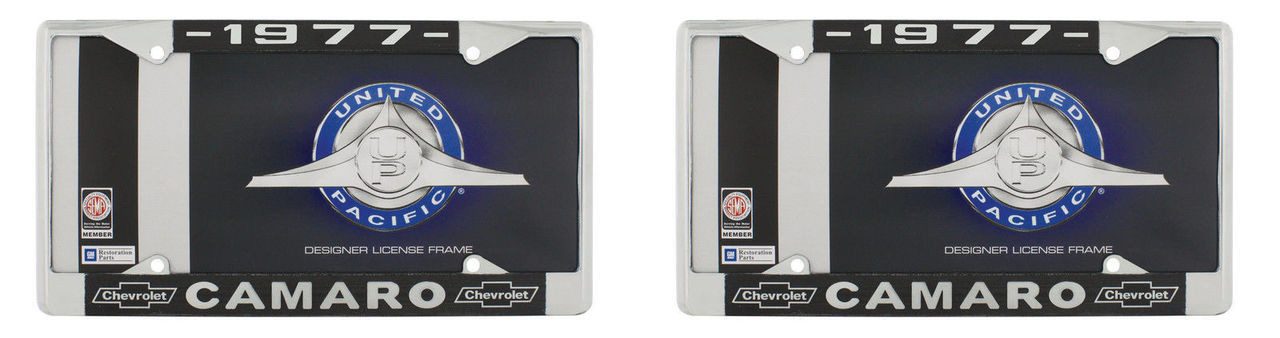 """1977 Chevy """"Camaro"""" Chrome License Plate Frame with Year and Bowtie, Set of 2"""