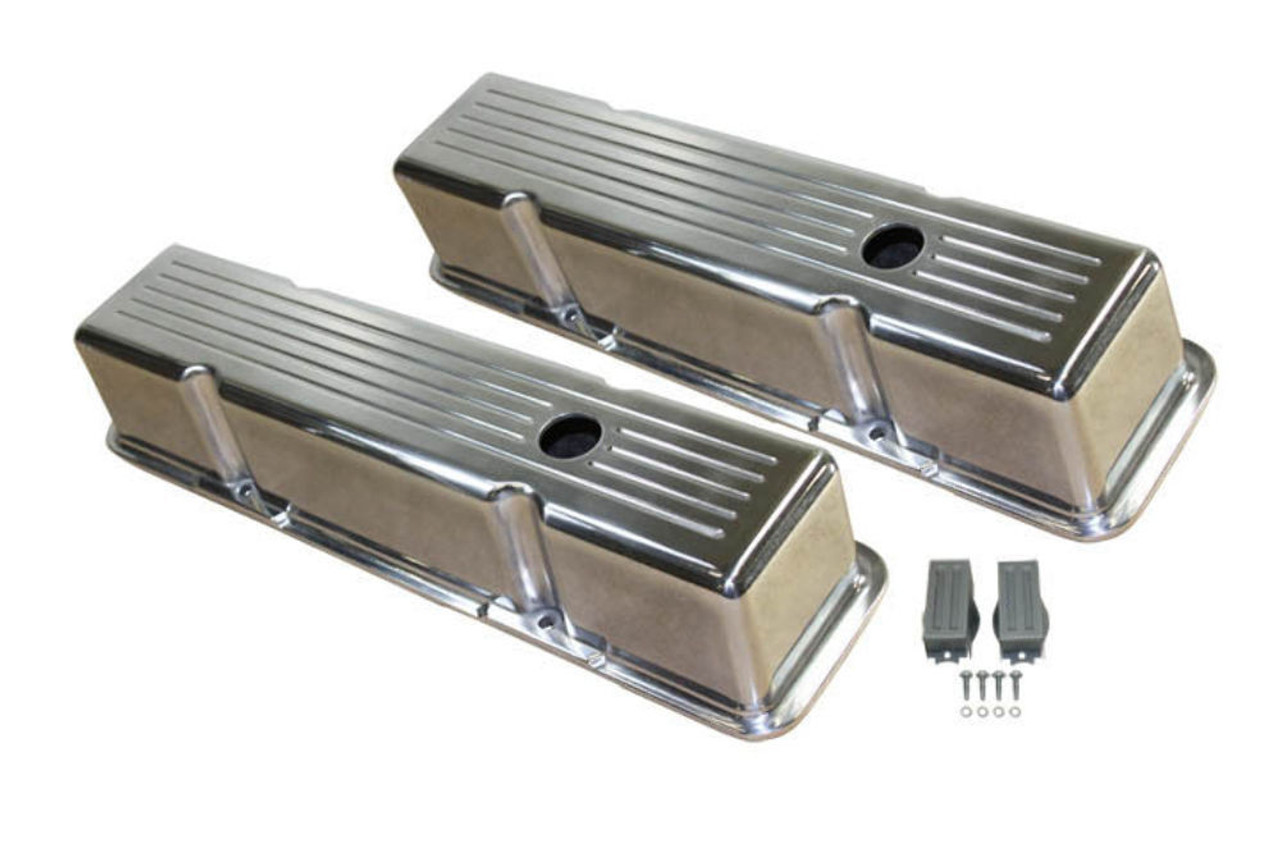 1958-86 SBC Chevy Polished Aluminum Ball-Milled Valve Covers w Hole Tall 283-400