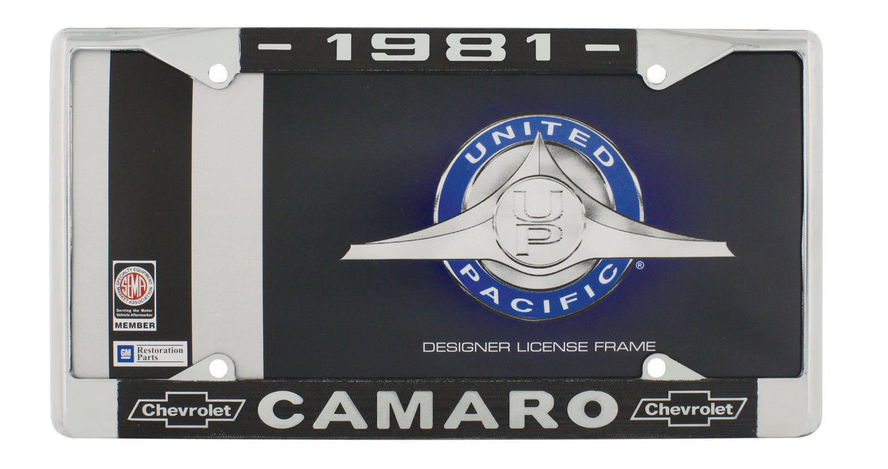 "1981 Chevy ""Camaro"" Chrome License Plate Frame with Year and Chevrolet Bowtie"