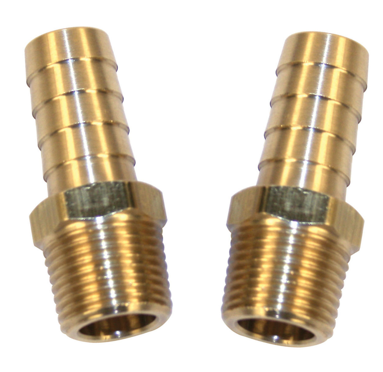 Brass Fitting, 1/2 Male NPT w/ 3/8 Hose Barb, Pack Of 2, Fits VW Air Cooled, EMPI 9213