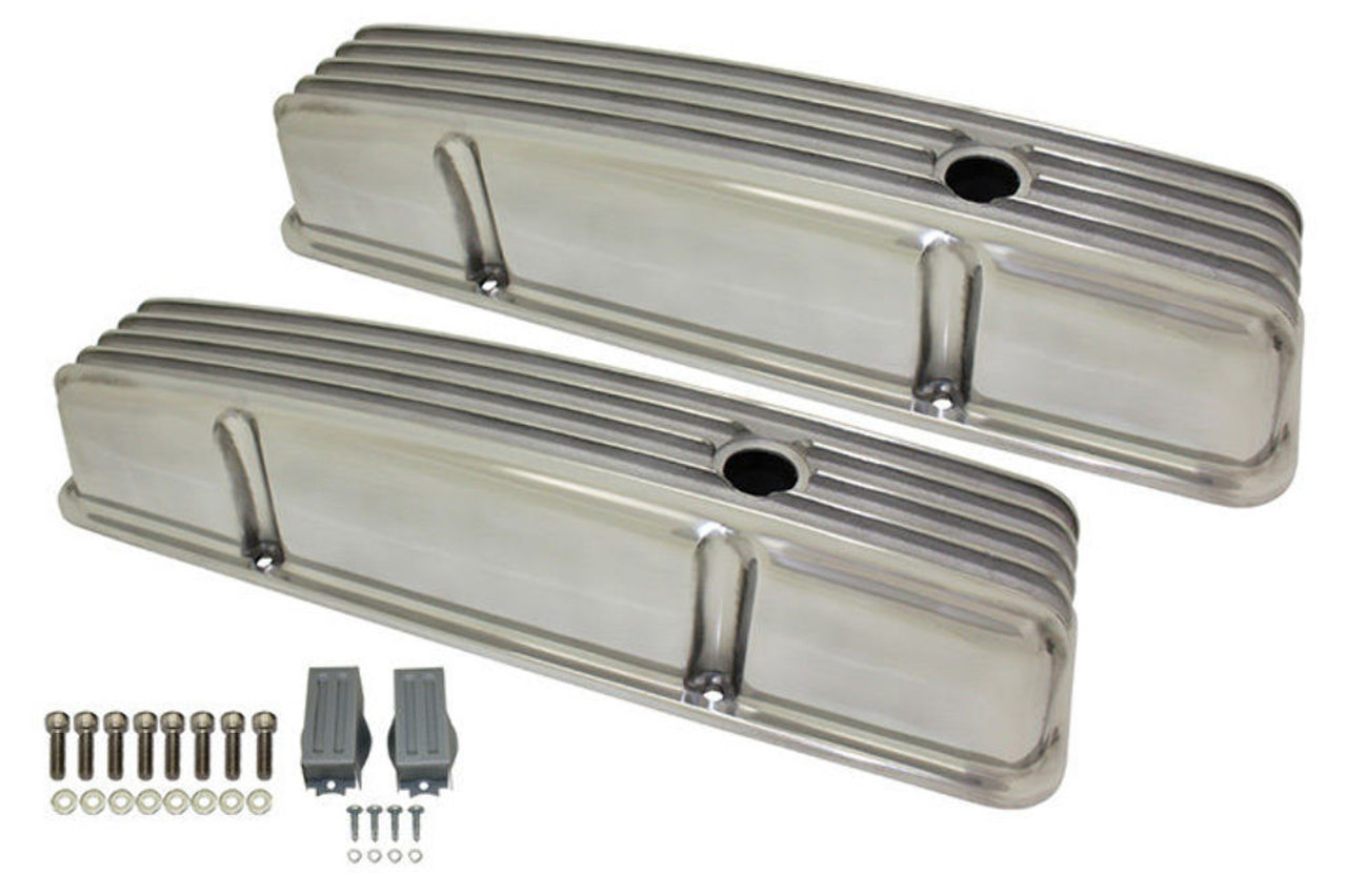 1958-86 SBC Chevy Polished Aluminum Finned Valve Covers Set w Hole Tall 283-350