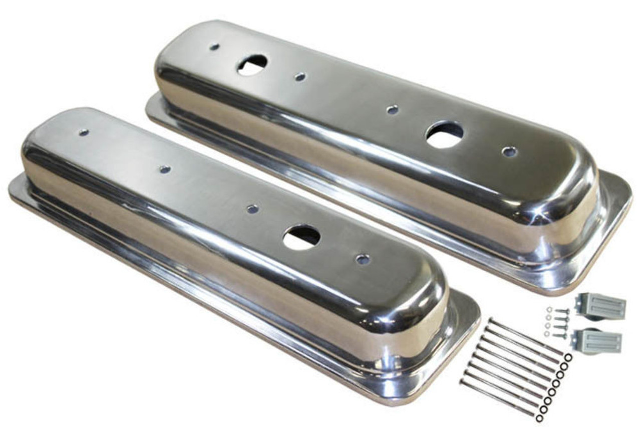 1987-97 SBC Chevy Polished Aluminum Smooth Valve Covers W/Holes Short 5.0-5.7L