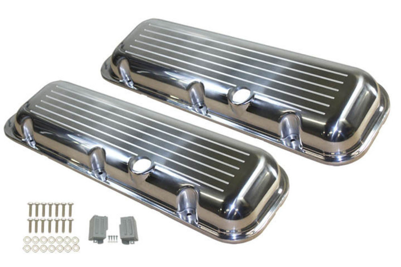 1965-95 BBC Chevy Polished Aluminum B/Milled Valve Covers w Hole Short 396-502