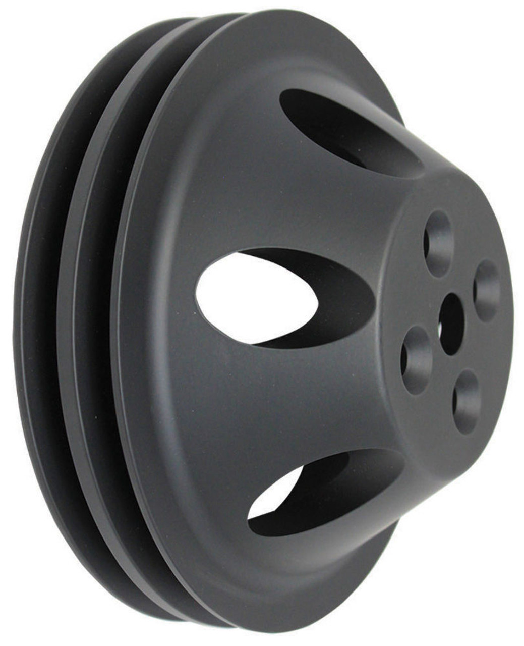 SBC Chevy 283-350 Black Aluminum SWP Double Groove Water Pump Pulley
