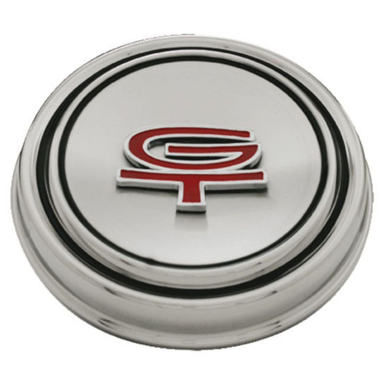 """1967-68 Ford Mustang """"GT"""" Hub Cap Stainless Steel w/ GT Emblem"""