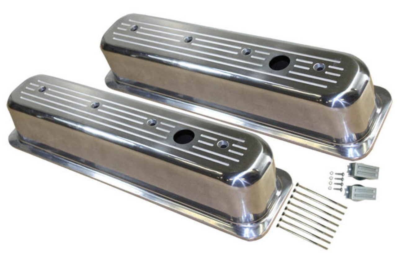1987-97 SBC Chevy Polished Aluminum B/Milled Valve Covers w Hole Tall 5.0-5.7L
