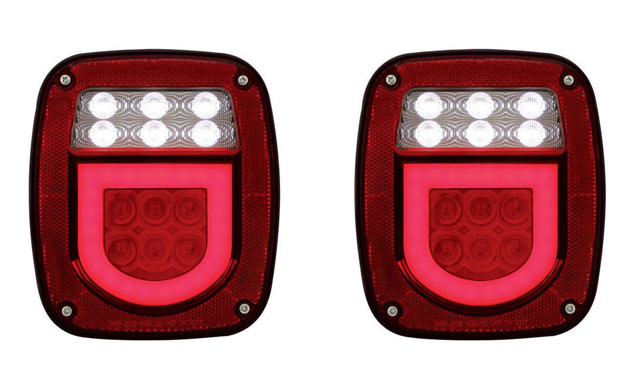 (2) Universal Stud Mount 30 Red LED Combination GLO Lights - Driver/Passenger Pr