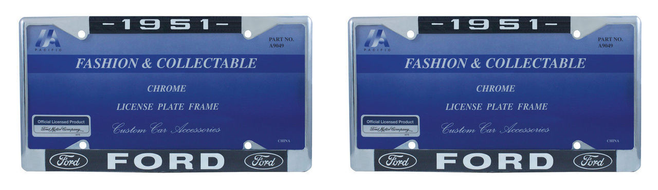 1951 Ford License Plate Frame Chrome Finish with Blue and White Script, Set of 2
