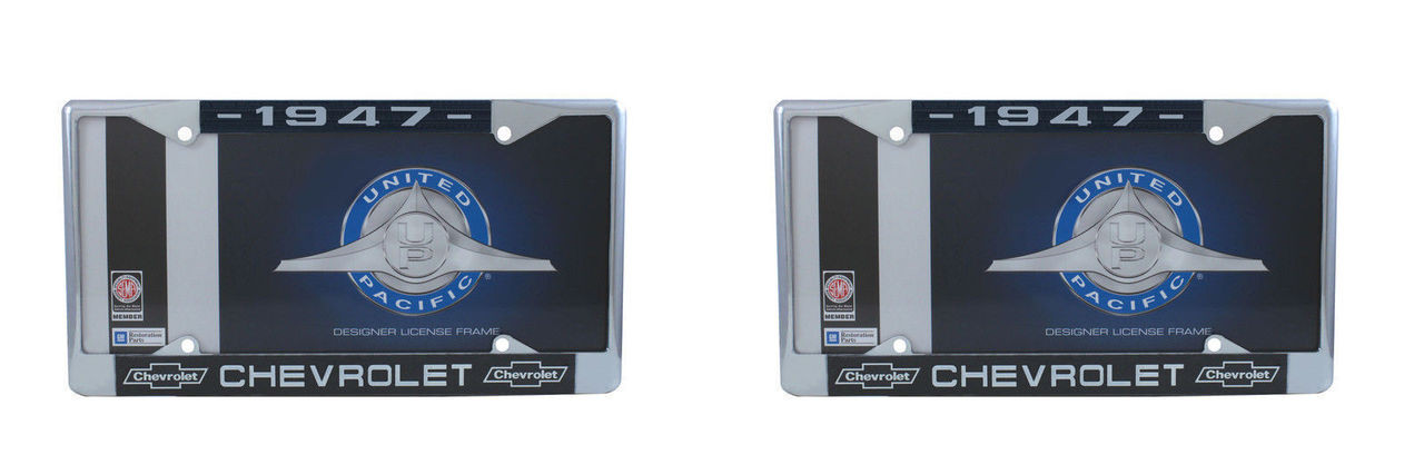 1947 Chevy Chrome License Plate Frame with Bowtie Blue / White Script, Set of 2