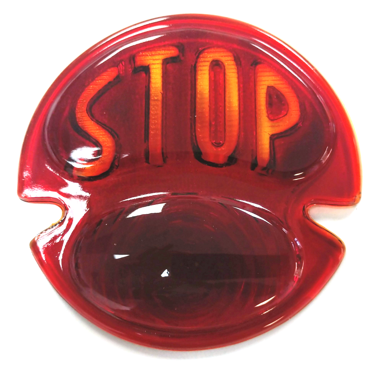 """1928-31 Ford Glass Red Tail Light Lens with """"STOP"""" Script"""