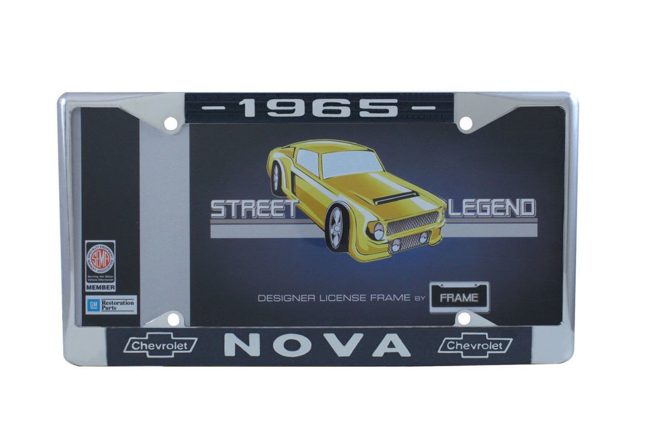 1965 Chevy Nova Chrome License Plate Frame with Blue and White Script, Set of 2