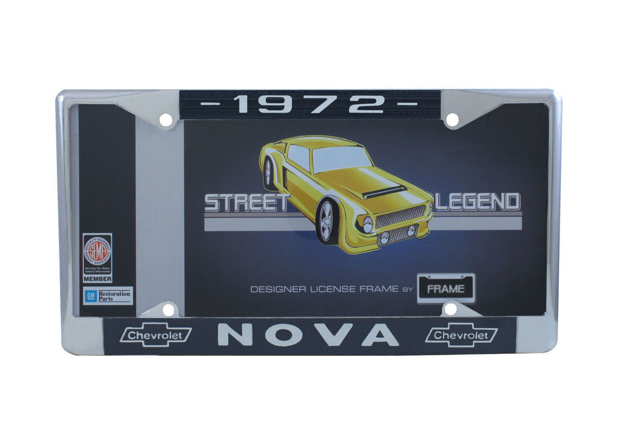 1972 Chevy Nova Chrome License Plate Frame with Blue and White Script