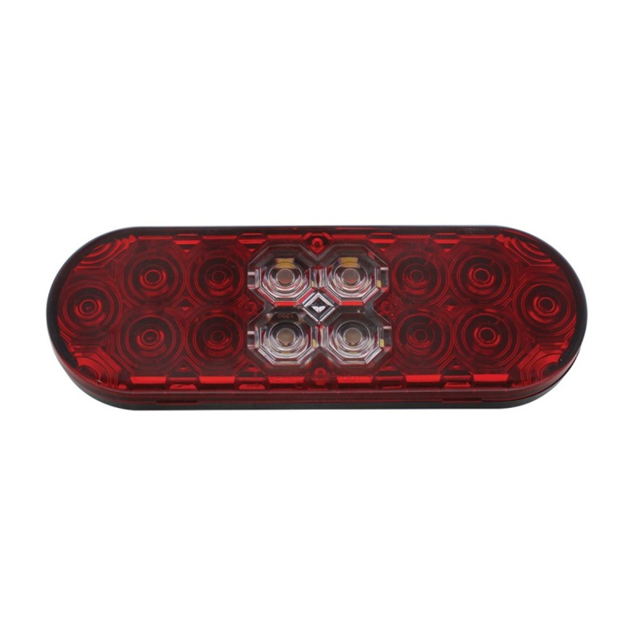 "6"" Oval Combo Light with 14 LED S/T/T Light & 16 LED Back-Up Light - Red Lens"