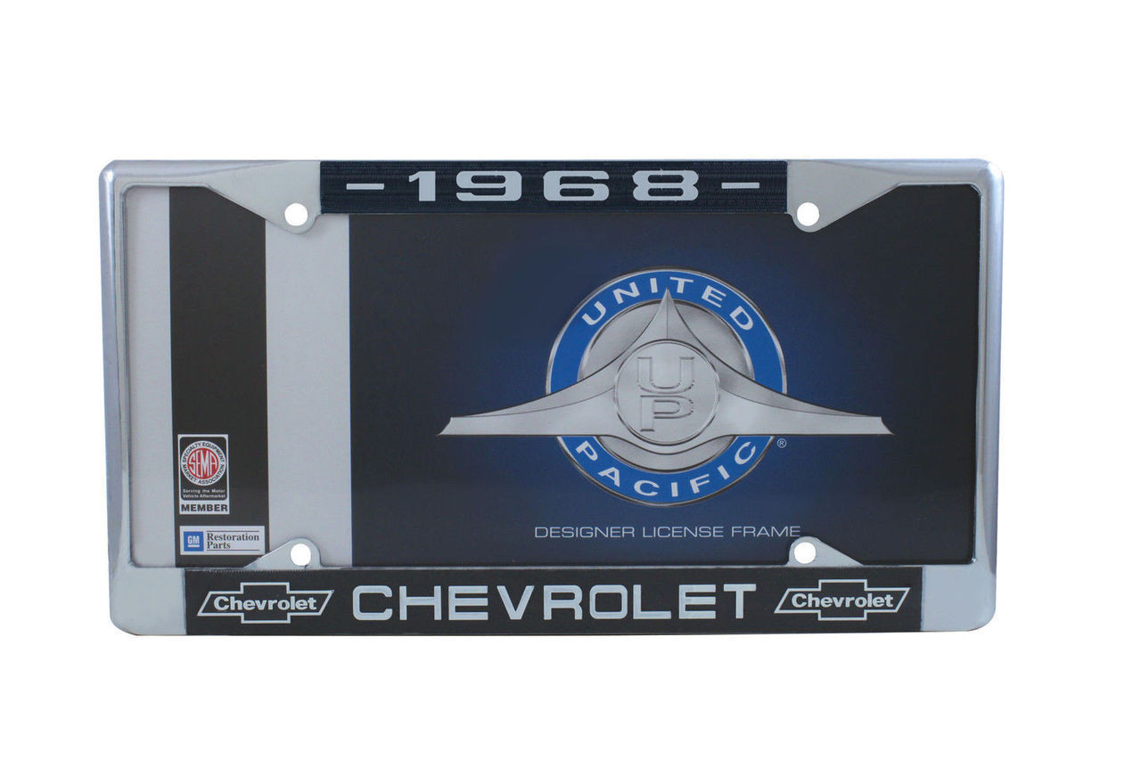 1968 Chevy Chrome License Plate Frame with Bowtie Blue / White Script, Set of 2