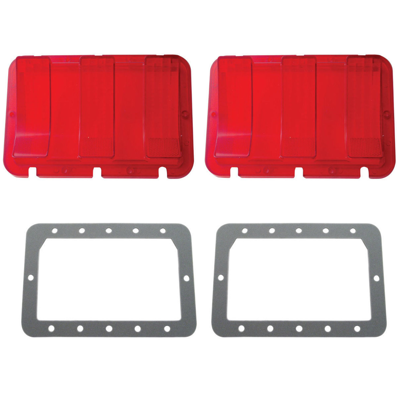 (2) Tail Light Lenses w/ Gray Foam Gaskets, Compatible with Ford Mustang 1967-68