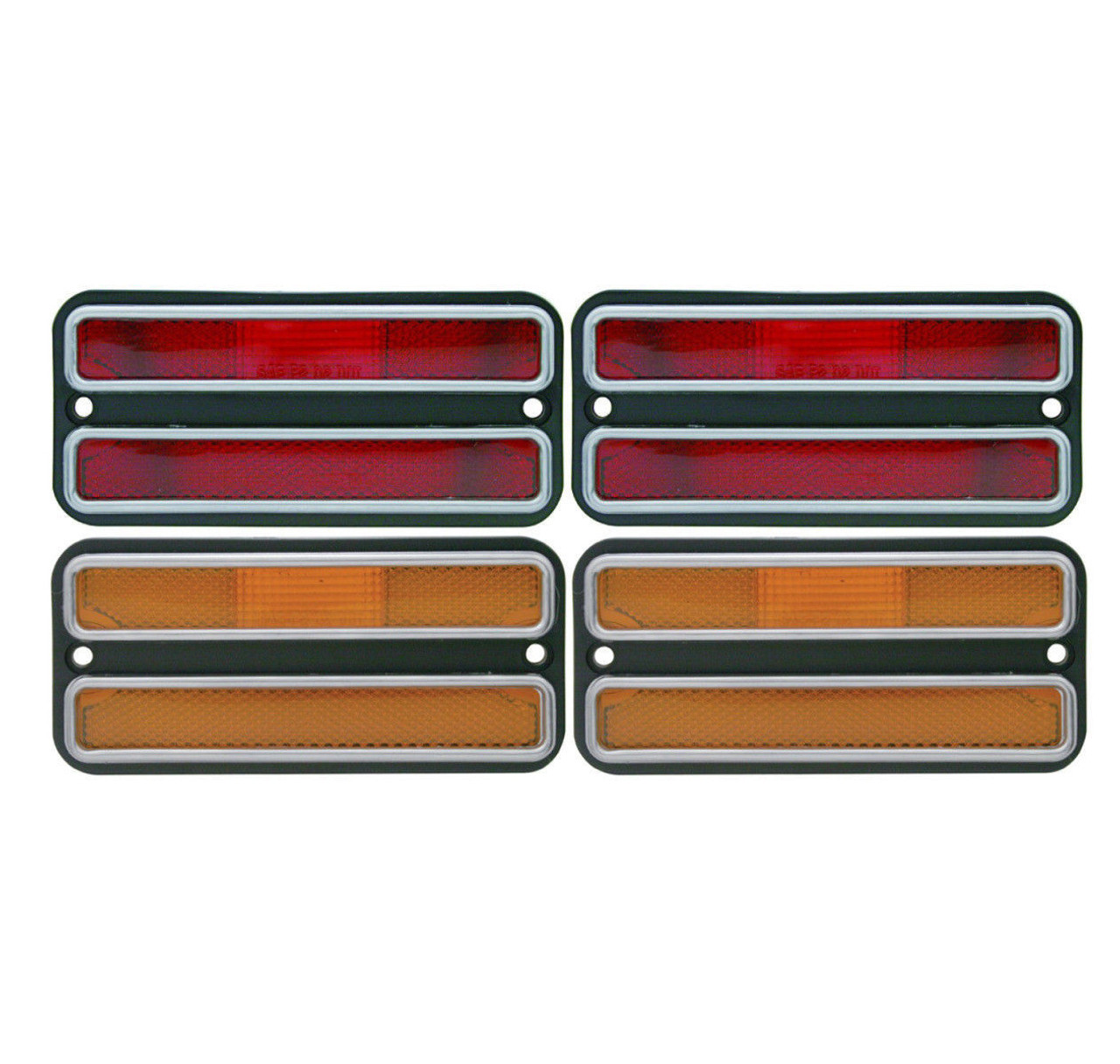 Clearance Side Marker Light Housings Kit, Red/Amber, Fits Chevy 1968-72 Truck