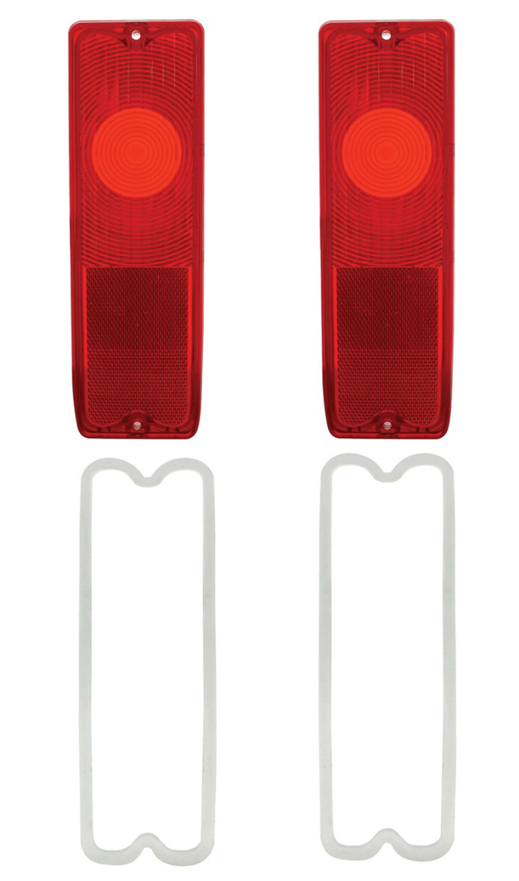 (2) 1967-72 Chevy Fleetside Pickup Truck Red Tail Light Lenses with Gaskets