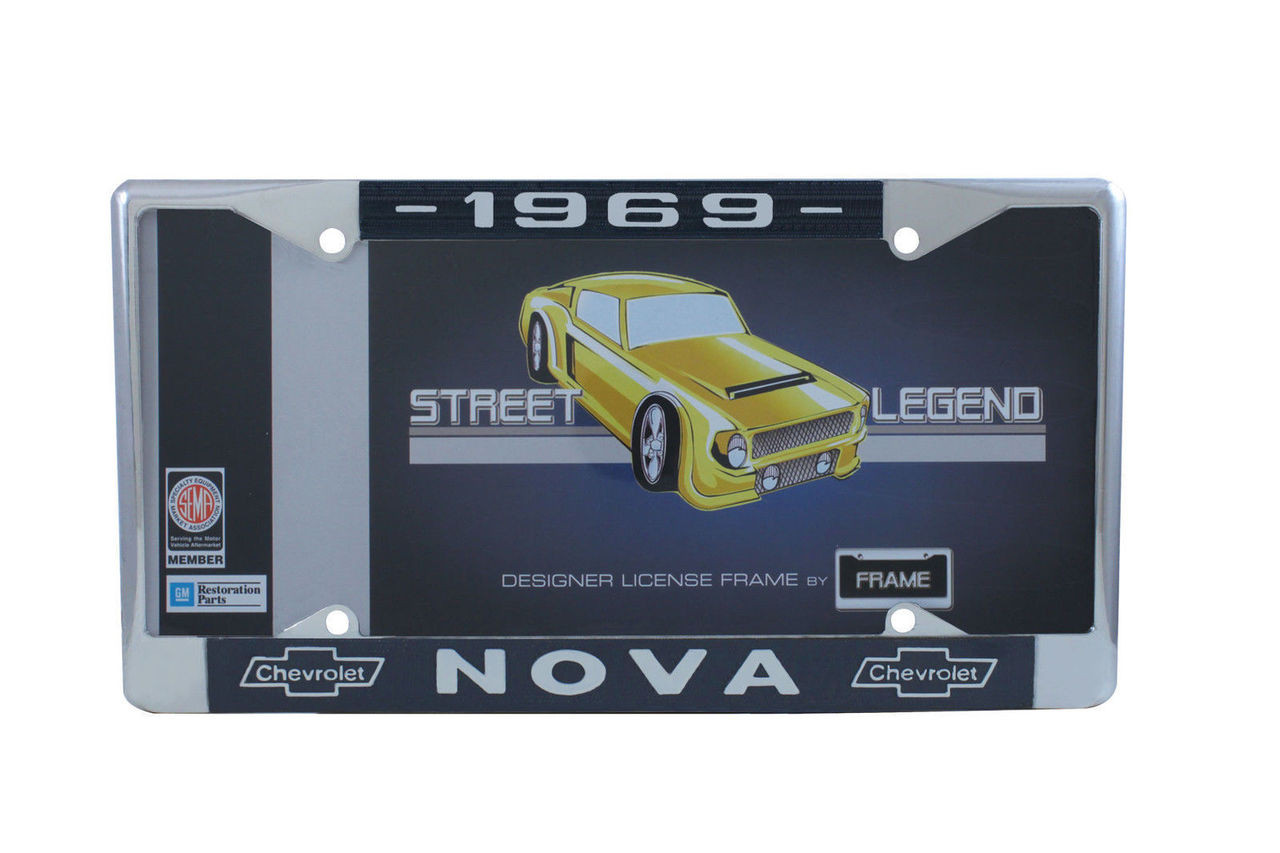1969 Chevy Nova Chrome License Plate Frame with Blue and White Script