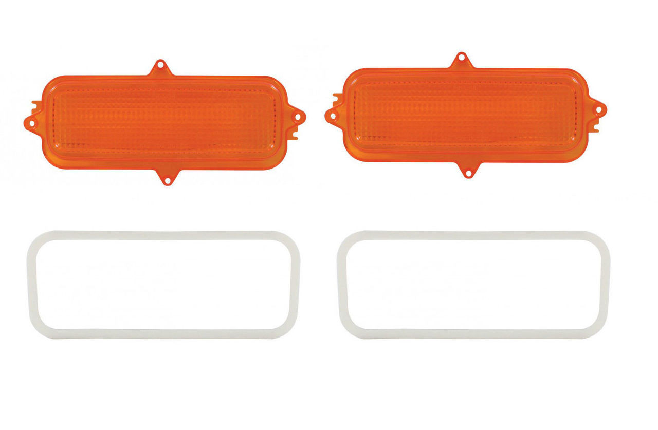 (2) 1960 - 1966 Chevy Truck Parking Light Lenses With Gaskets, Amber Lens, Pair