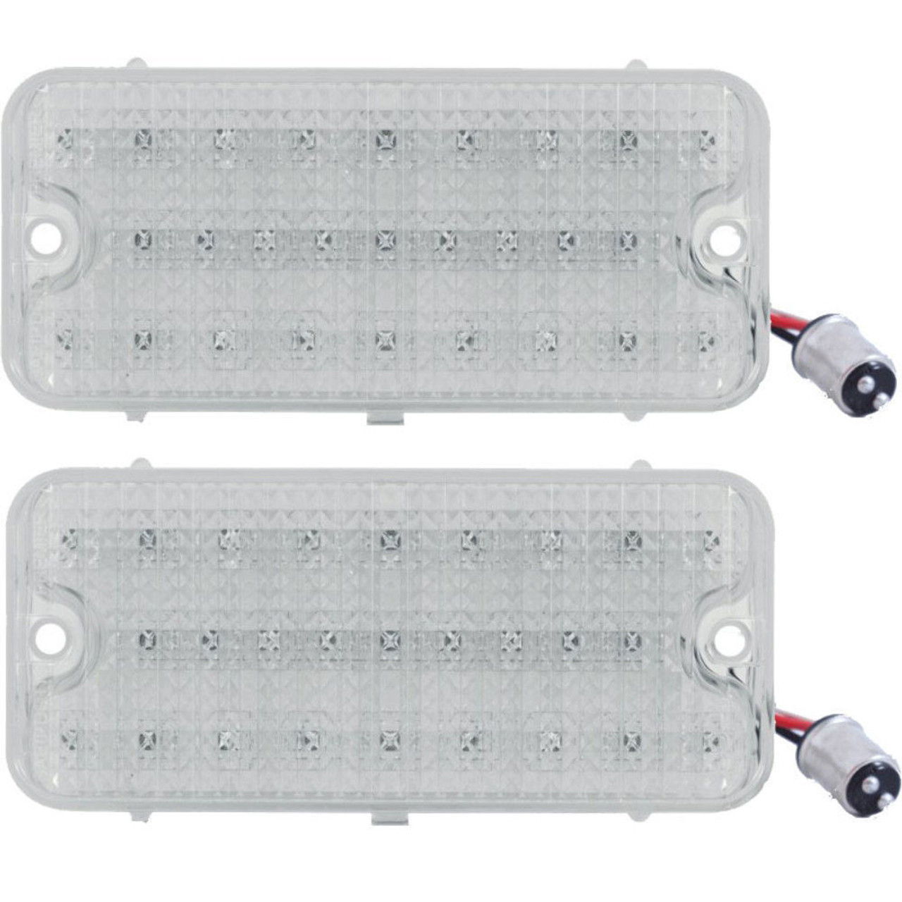 (2) LED Park Light - Clear Lens w/ Amber LED, Pair, Fits Chevy Truck 1967-1968