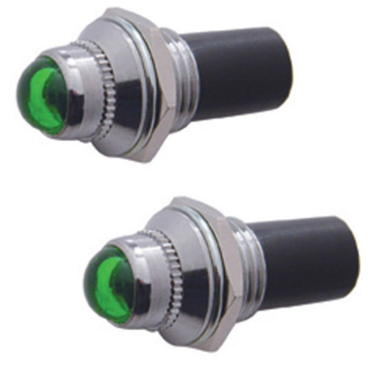"""2 Green Mini Pilot  Lights - Incandescent, Fits 3/8"""" Dash Hole, Sold As Pair"""