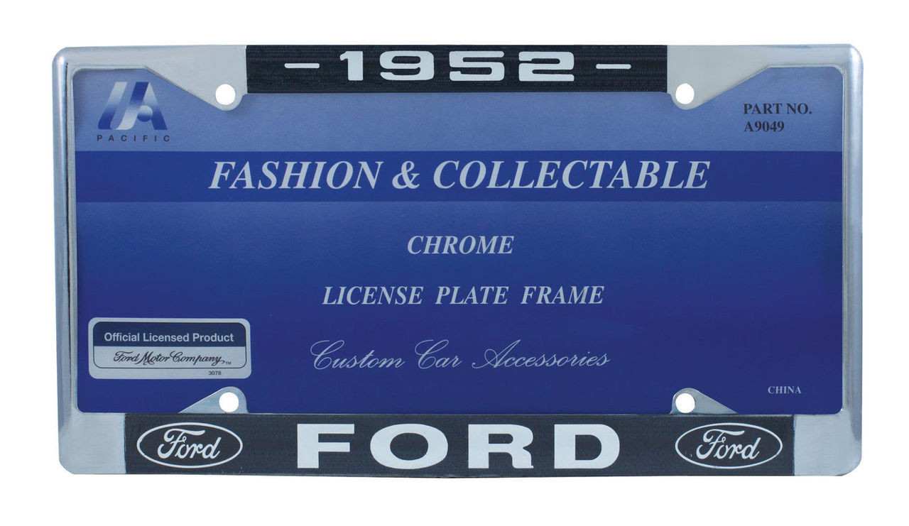 1952 Ford License Plate Frame Chrome Finish with Blue and White Script, Set of 2