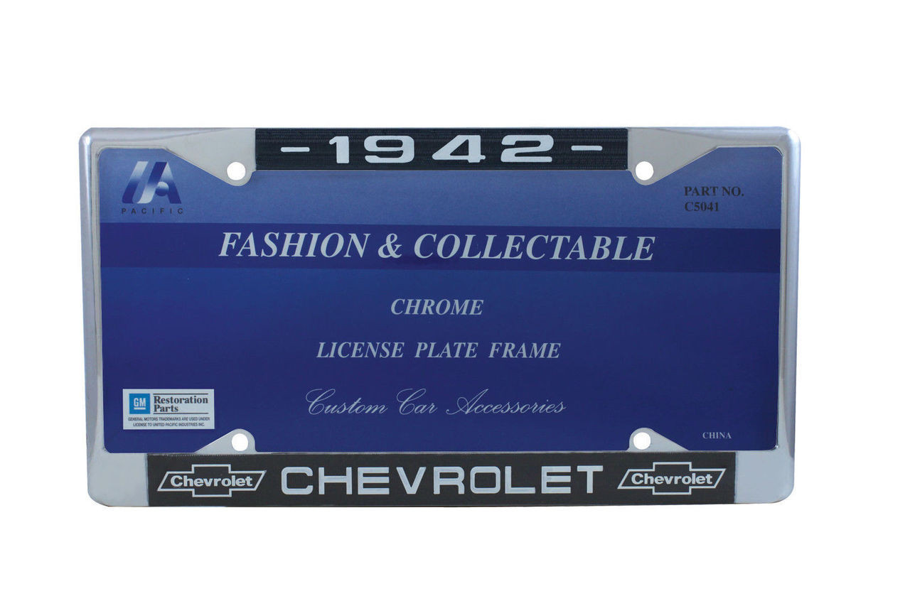 1942 Chevy Chrome License Plate Frame with Bowtie Blue / White Script, Set of 2