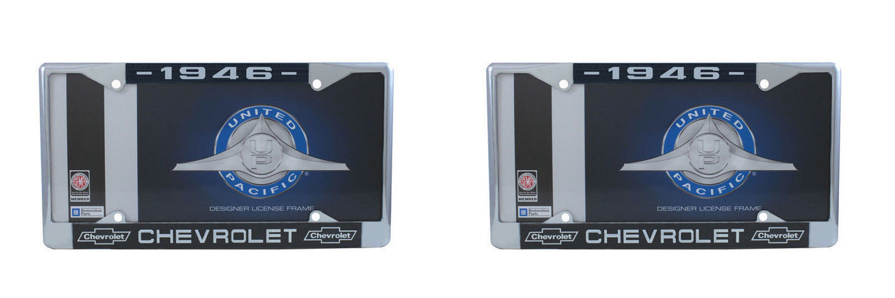 1946 Chevy Chrome License Plate Frame with Bowtie Blue / White Script, Set of 2